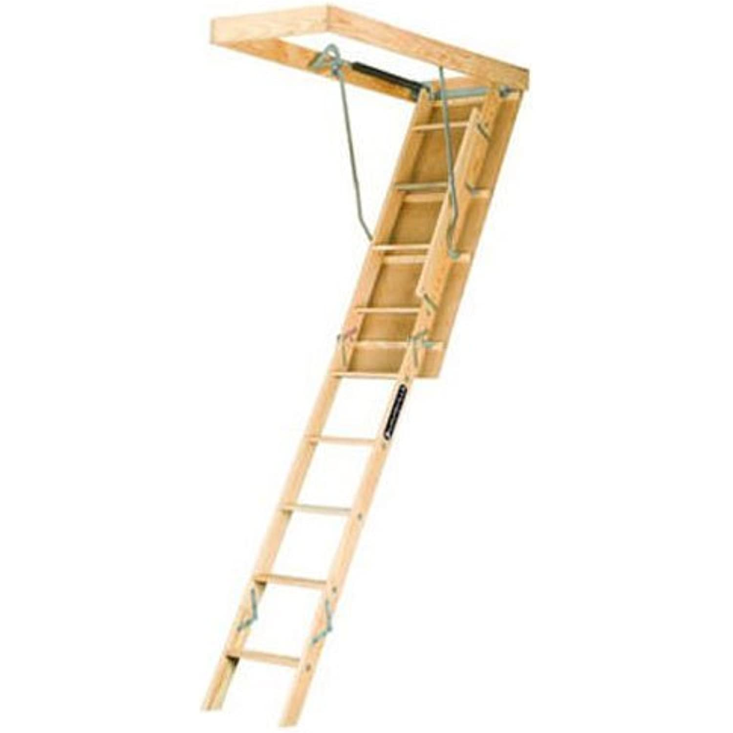 Louisville Ladder 22.5-by-54-Inch Wooden Attic Ladder, Fits 8-Foot 9-Inch to 10-Foot Ceiling Height, 250-Pound Capacity, L224P