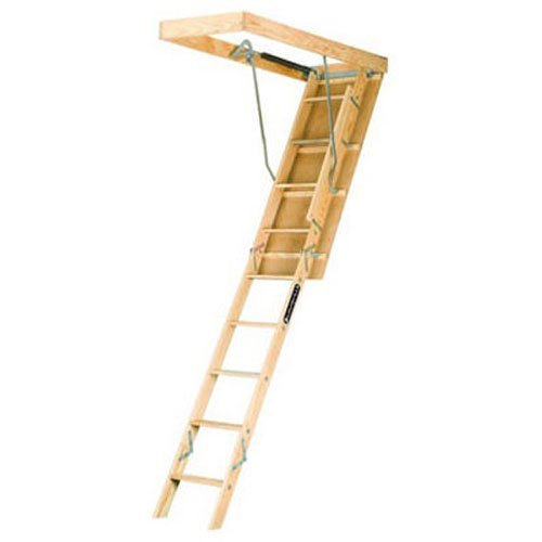 Louisville Ladder L224P 250-Pound Duty Rating Wooden Attic Ladder Fits 8-Foot 9-Inch to 10-Foot Ceiling Height, 22.5-by-54-Inch Ceiling Rough Opening by Louisville Ladder