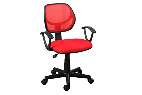 """Poundex Mesh Back Gaslift Office Chair, 35.4"""", Red/Burgundy"""