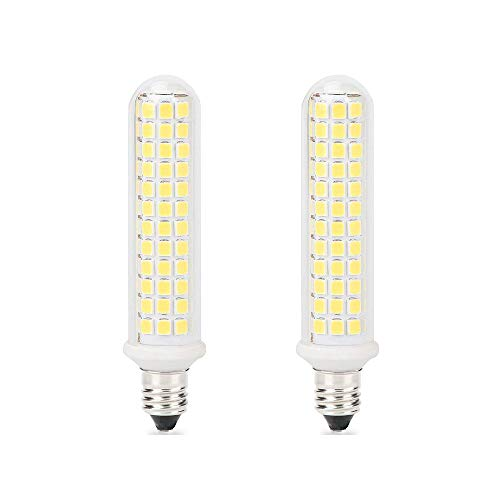 E11 Led Bulbs Dimmable, 10W(100W Ceiling Fan Halogen Bulb Equivalent), 100W Halogen Bulbs Replacement, JD E11 Mini Candelabra Base, Dayligh White 6000K, T3 T4 Led Bulbs for Chandeliers, Pack of 2