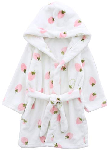 Girls' Bath Robe, Cute Strawberry Print Warm Plush Fleece Bathrobe Robe for Baby Toddler & Little Girls, White Strawberry, US 5/Height(43.3