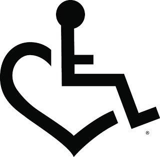 handicap heart logo vinyl 6 tall color black decal laptop