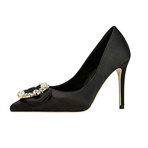 Top Shishang Womens Ankle Strap Pump Party Dress High Heel Court Shoes Sexy Club bar Wedding,Black,35