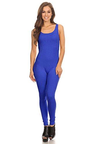Women's Scoop Neck Sleeveless Stretch Cotton Jersey Unitard Bodysuits Blue Large