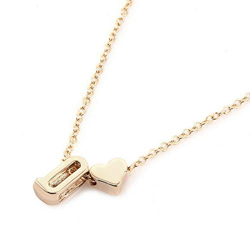 Hebel Gold Plated Initial Alphabet Letter A-Z Heart Pendant Chain Necklace Gift | Model NCKLCS - 32138 | -