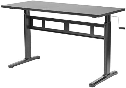 VIVO Black Height Adjustable 55 x 24 inch Table Top with Legs Complete Sit Stand Desk Workstation with Frame and Desktop DESK-V100M