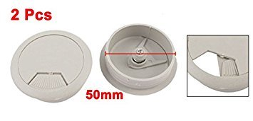 Pack of 2 uxcell a15033100ux0298 2pcs 5cm Dia Computer Desk Grommet Cable Tidy Outlet Hole Cover Gray