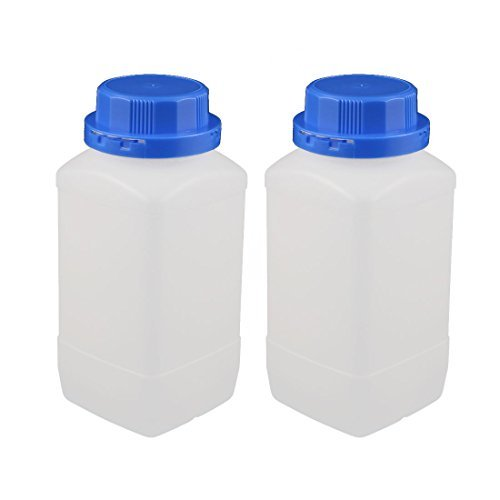 DealMux 2 Pcs 1000ml Plastic Square Wide Mouth Chemical Sample Reagent Bottle Thickening DLM-B01N07UWJR