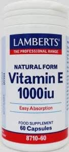 Lamberts Vitamina E 1000 iu Natural 60 Cápsulas