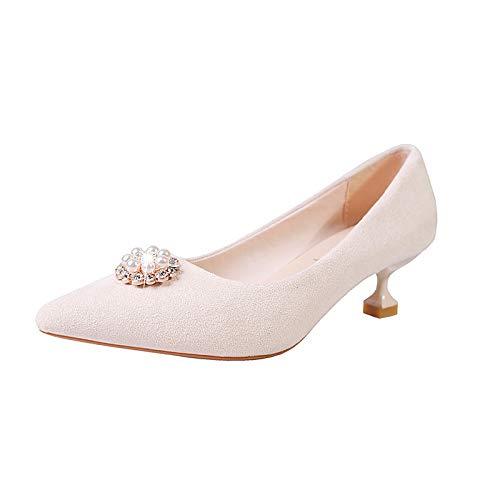 Pink Black Heels Pu Beige Toe Polyurethane Pointed Summer Calf Women'S Basic Rhinestone Shoes Pump Yellow Mid Boots Heel Kitten QOIQNLSN EHqaUx0wE