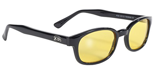 Pacific Coast Original KD's Biker Sunglasses (Black Frame/Yellow - Amazon Glasses Yellow Lens