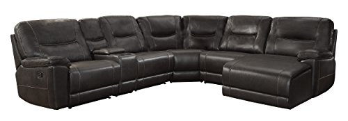- Homelegance Columbus Leath-Aire Sectional Sofa, Brown