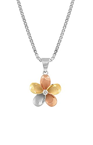Tri Color Sterling Plumeria Necklace Pendant