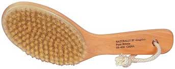 100% Natural Boar Bristle Body Brush with Contoured Wooden Handle
