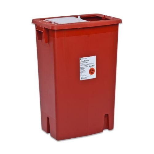 Covidien 8998S SharpSafety Sharps Container Gasketed Slide Lid, 18 gal Capacity, Red (Pack of 5) by COVIDIEN (Image #1)