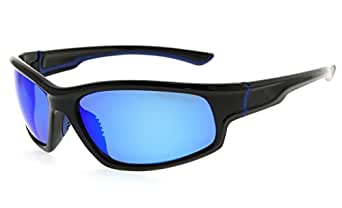 Eyekepper Sports Hiking Polycarbonate TR90 Polarized Sunglasses Black Frame Blue Mirror
