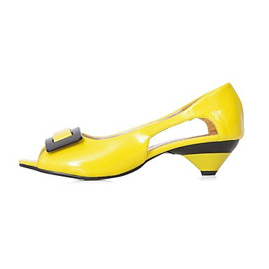 High yellow Cirior Women's High Leather Heels Free Low Heel Women Pumps Toe Heels Patent a5UO5qnr