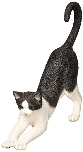 XoticBrands Decorative 4.92 Inch Black and White Cat Stretching-Animal Statue