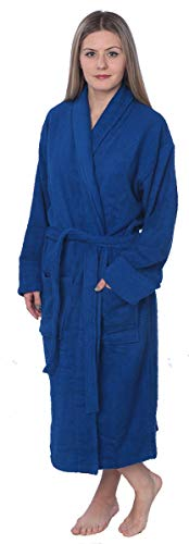 Womens 100% Cotton Shawl Collar Robe Terry Cloth Bathrobe Available in Plus Size BRT1_Y18 Royal Blue 2X ()