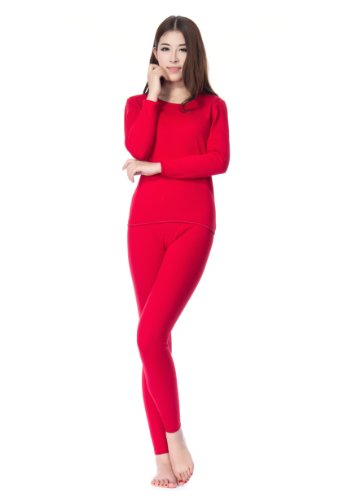 Colorfulworldstore Women's Bamboo fiber thermal underwear sets-velvet Freeze Long Sleeve shirts&pants (S-160cm High, Red)
