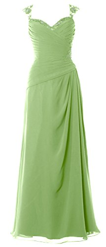 MACloth Women Cap Sleeves Long Mother of Bride Dress Open Back Party Formal Gown Pistachio