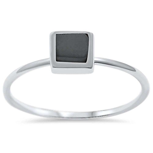 Square Onyx Ring - Sterling Silver Square Simulated Black Onyx Ring Sizes 9