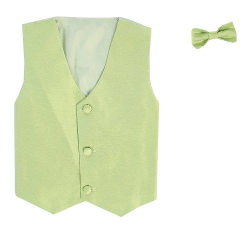 Vest and Clip On Baby Boy Bowtie set - APPLE GREEN - L/XL (12-24 Months)