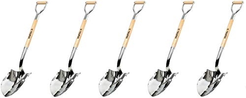 Truper 33127 Tru Pro Polished Chrome Ceremonial Shovel, with Steel/Wood D-Handle, 27-Inch (5-(Pack))
