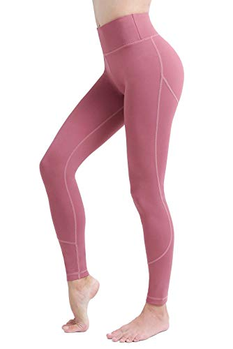 b636465b23604 UURUN Workout Leggings for Women High Waist Tummy Control Yoga Pants, Non  See Through Compression Gym Running Pants with Hidden Pocket Pink-XXL