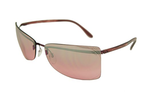 Silhouette Sunglasses Titan Design limited edition (8092-6138 shiny red crystal frame / light silver mirror rose red gradient lens70mm-18mm-128mm, one size) (Silhouette Mirror)