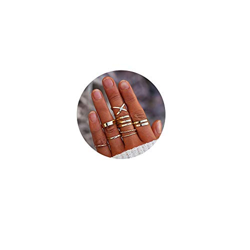 FINETOO 8 PCS Simple Knuckle Midi Ring Set Vintage Gold for Women/Girl CZ Finger Stackable Rings Set DIY Jewelry - Stackable Gold