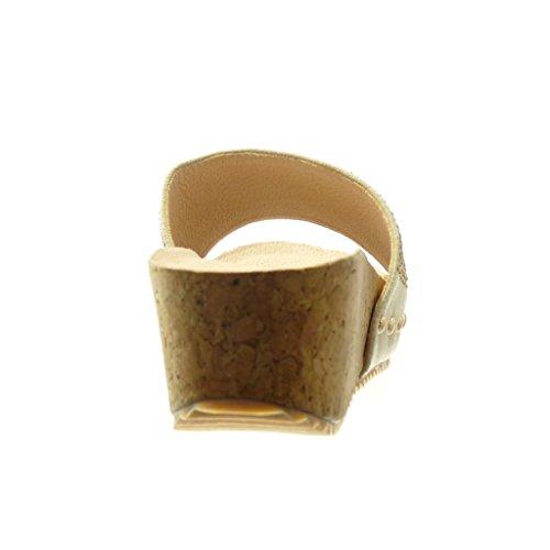 Angkorly - Chaussure Mode Mule Sandale plateforme femme strass diamant clouté liège Talon compensé plateforme 5 CM - Beige