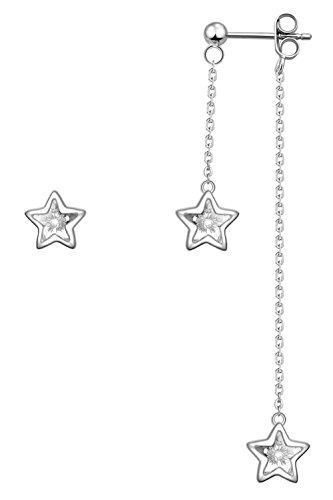 YAN & LEI Sterling Silver Triple Swarovski Crystal Stars Asymmetric Design of Stud and Dangling Earrings Color (Dangling Star Crystal)