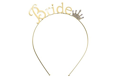 "Rosemarie Collections Women's Bachelorette Party Tiara Headband Gold Tone ""Bride"""