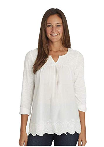 Gloria Vanderbilt Summer Tops for Women/Daphne Ladies' Woven Blouses with Roll Tab Sleeves (Crystal White, XL)