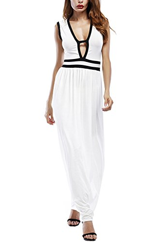 WIWIQS Women's Sexy Deep V Neck Ruffle Sleeveless Party Casual Long Dresses,White,Small (Singer Form Small Dress)