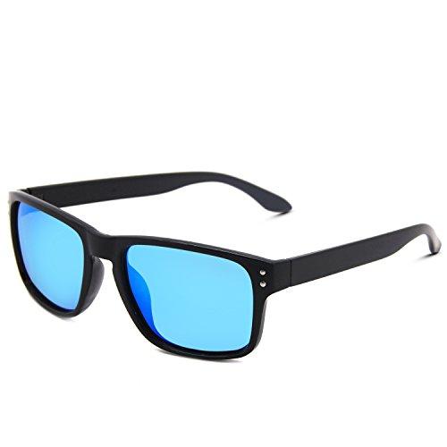 AMZTM Classic Fashion Mirrored Reflective REVO Lenses Shades Retro Rectangular Frames Eyewear Wayfarer Sunglasses For Women and Men Polarized Driving Glasses (Ice Blue, - Lenses Glasses Only