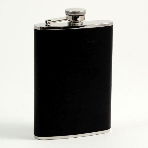 Bey-Berk FS118 8 oz. Stainless Steel Black Leather Flask with Captive Cap and Durable Rubber Seal, One Size, (Bey Berk Flask)