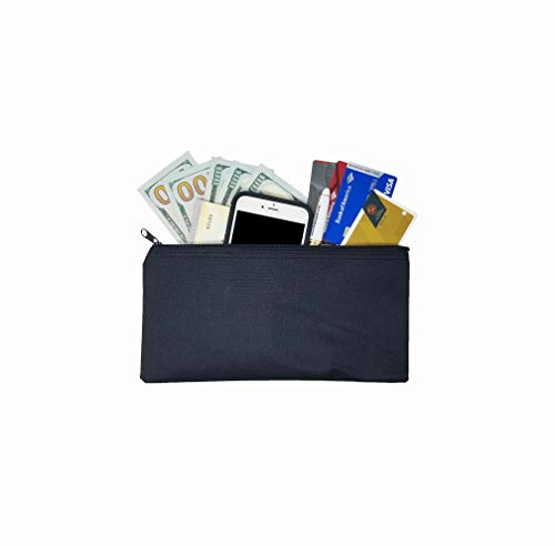3-Piece Set PM Company Security Bank Deposit/Utility Zipper Coin Bag/Pouch Safe Money Organizer Bag / 11 X 5.5 Inches (Black-Polyester)