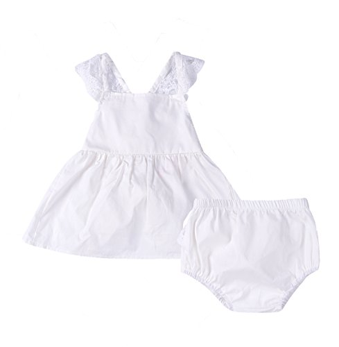 Newborn Baby Girls Lace Tops Shorts Backless Dress 2Pcs Party Outfit Set Clothes (70(0-6M), White) (70 Party Clothes)
