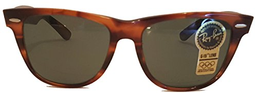 Wayfarer II Ray-Ban by Bausch & Lomb Light Tortoise Original never owned Real New Vintage Sunglasses G15 Glass Lenses made in the USA in the 1980's LARGE SIZED - Real Ray Ban
