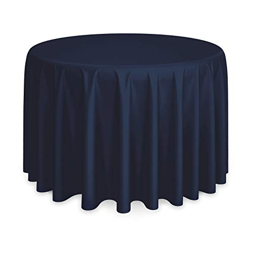 Lanns Linens - 108 Round Premium Tablecloth for Wedding/Banquet/Restaurant - Polyester Fabric Table Cloth - Navy Blue