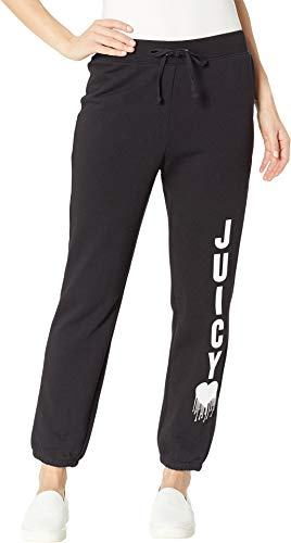 Juicy Couture Track - Juicy Couture Women's Track French Terry Inked Heart Silverlake Pants Pitch Black Medium 26.5 26.5