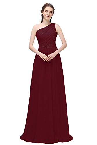 Ever Girl Women's Bridesmaid Chiffon Prom Dresses Long Evening Gowns Burgundy O18