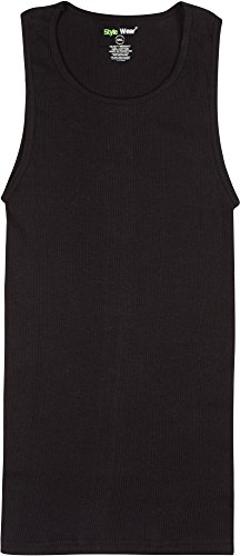 Top Style Wear 100% Cotton Ribbed Muscle Shirt Tank Top - 6 Pack