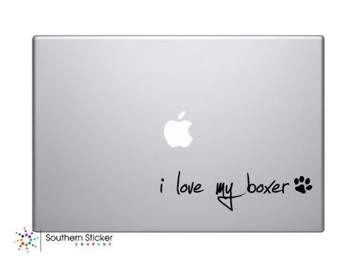 I Love My Boxer Dog Puppy Vinyl Car Sticker Symbol Silhouette Keypad Track Pad Decal Laptop Skin Ipad Macbook Window Truck ()