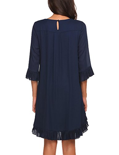 Unibelle Women Chiffon Loose Pleated Ruffle Hem Half Sleeve Short Dress, Dark Blue, X-Large