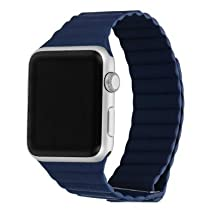 Apple Watch Band Replacement; Kartice Genuine Leather Loop Watch Band Strap With Magnetic Closure for for Apple Watch iwatch & Sport & Edition 2015 Release New Apple Watch color:Bright Blue&38mm