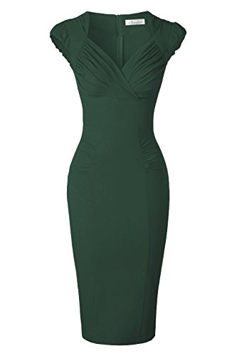 Newdow Lady's 50s Vintage V-neck Capsleeve Pencil Dress (Large, Dark Green)