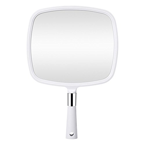Orange Tech Large Hand Held Mirror with Handle, Makeup Hand Mirror with Hook Hole for Bathroom and Bedroom, Barbers Haircut Mirror for Home and Salon (Salon Mirror)
